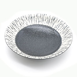 *LARGE SHALLOW BOWL: BLACK FLOW