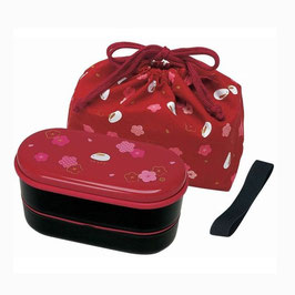 *BENTO BOX:  RABBIT RED w CHOPSTICKS&BELT&BAG