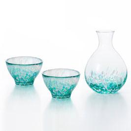 *GLASS SAKEWARE GIFT: HYDRANGEA GREEN