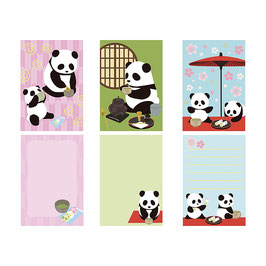 MEMO PADS 3PSC SET: PANDA TEA CEREMONY