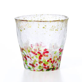 *HANDMADE GLASS TUMBLER with GOLD LEAVES: SPRING