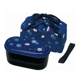 *BENTO BOX:  RABBIT BLUE w CHOPSTICKS&BELT&BAG