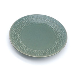 *SIDE PLATES: FLOWER STAMP GREEN