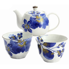 *TEAWARE: INDIGO FLOWER TEA SET
