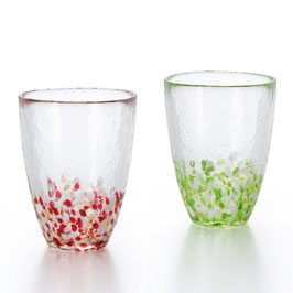*HANDMADE GLASS TUMBLER PAIR: APPLE