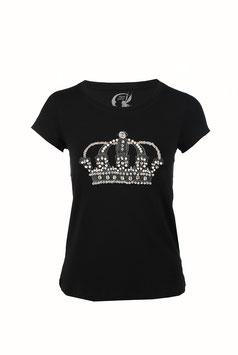 T-shirt KT133 Corona perline & strass  (Nero/Ecrù)