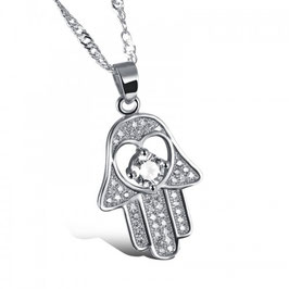 NORA - Fatimas Hand Anhänger Halskette WEISSVERGOLDET