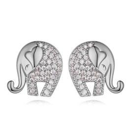 ORNELLA - Elefanten Ohrringe WEISSVERGOLDET