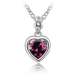 AMAYA – Halskette mit violettem Kristallherz