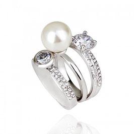 KLARISA - Perlenring mit Kristallen