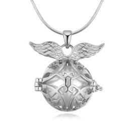 LUNA – Engelskette mit Flügeln weissvergoldet