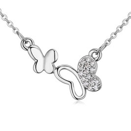 ZARA - Schmetterlings Halskette WEISSVERGOLDET