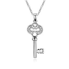 ***TESSA - Schlüssel Anhänger Halskette WEISSVERGOLDET