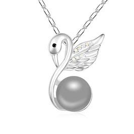 BEISHA - Halskette mit Perlenanhänger Anthrazit