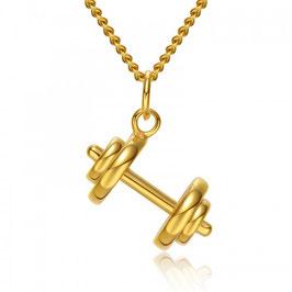 CAVIT – Hantel Anhänger Halskette VERGOLDET