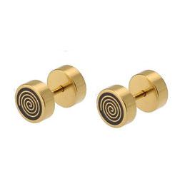 ***KEV - Fake Plugs Spirale Edelstahl GOLD