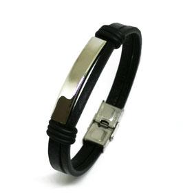 ***AURELIO - Kunstleder Armband mit Edelstahl Element SILBER