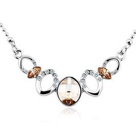 RAYA – Kette mit champagnerfarbenen Kristallen