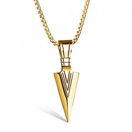 ***ELLIOT - Halskette mit Spitz Anhänger Edelstahl GOLD