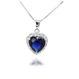 JOLINA - Herz Anhänger Halskette BLAU