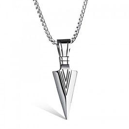 ***ELLIOT - Halskette mit Spitz Anhänger Edelstahl SILBER