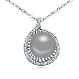 ELENA - Halskette mit Perlenanhänger GRAU