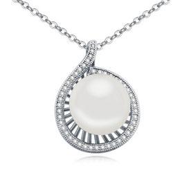 ELENA - Halskette mit Perlenanhänger WEISS