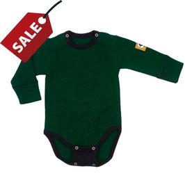 Бебешко боди от мериносова вълна с удължител в тъмно зелено