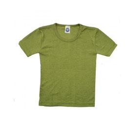 Детскa тениска от мериносова вълна и коприна в зелено