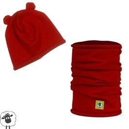 Комплект шал и шапка от мериносова вълна, червени