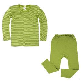 Детско термобельо - блуза и клин от мериносова вълна и коприна в зелено