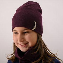 Мерино шапка в тъмно бордо