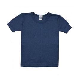 Детскa тениска от мериносова вълна и коприна в синьо