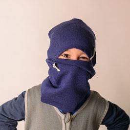 Мерино комплект шапка и шал в синьо