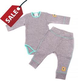Бебешки комплект - боди и панталонки от био памук и мерино вълна /сиво и тюркоаз/
