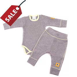 Бебешки комплект - боди и панталонки от био памук и мериносова вълна /сиво и зелено/