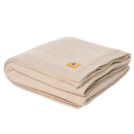 Голямо мериносово одеяло 110х160см, бежаво