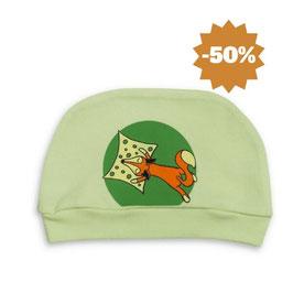 Бебешка шапка от био памук зелена
