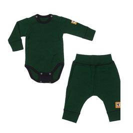 Бебешки комплект - боди и панталонки от мериносова вълна в зелено