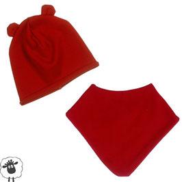 Комплект шапка и шал-бандана червени