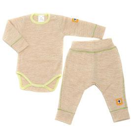 Бебешки комплект - боди и панталонки от мериносова вълна в светло бежаво