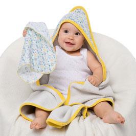 Бебешка хавлия с качулка, комплект, десен звездички