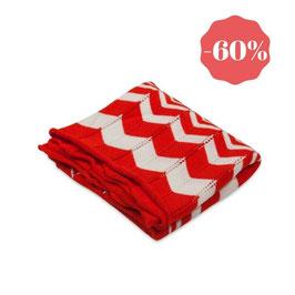 Плетено одеялце от био памук - червено и бяло