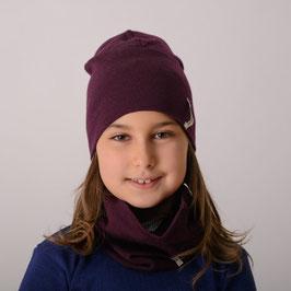 Мерино комплект шал и шапка в тъмно бордо