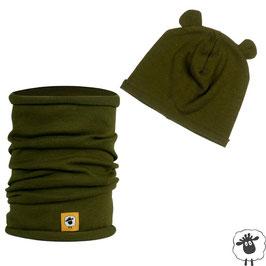 Шал и шапка от мериносова вълна, зелени