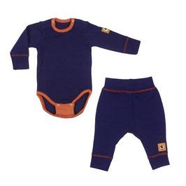 Бебешки комплект - боди и панталонки от мериносова вълна в лилаво
