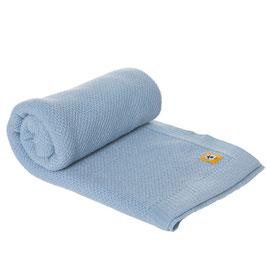 Бебешко одеяло от мериносова вълна 80х100см - синьо