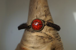 """Armband in Fassung Macrame """"Mohnblume"""""""