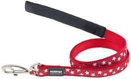 Red Dingo Dog Lead White Stars On Red