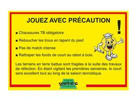 Panneau - JOUEZ AVEC PRÉCAUTION
